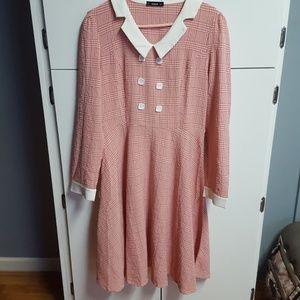 Pink Retro A-Line Dress